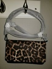 Michael Kors Leopard Calf Hair and Leather Convertible Crossbody Bag Small NWT