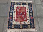 Kilim Vintage Traditional Hand Made Turkish Blue Red Wool Small Kilim 110x95cm
