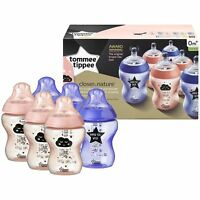 6 x Tommee Tippee Closer to Nature Decorated 260ml Baby Bottles - Pink & Purple