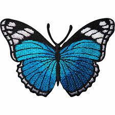 Turquoise Blue Butterfly Embroidered Iron / Sew On Patch Jeans Jacket Bag Badge