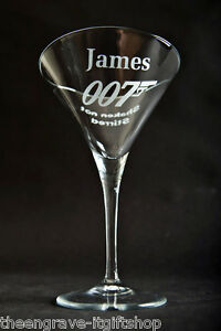 Personalised James Bond Cocktail/Martini Glass - Shaken not Stirred - Gift Boxed