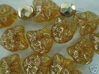 Czech 11mm cat head topaz gold color jewelry Glass animal decorative Bead 10 pcs