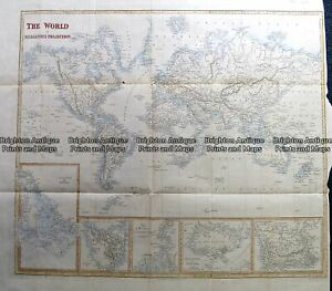 Antique Map 230-239 World on Mercator projection by S. Hall c.1850