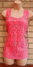 PRIMARK PINK LACE CROCHET FRONT BEADED CAMI BLOUSE TOP T SHIRT TUNIC 10 S