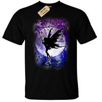 Fairy Luna Camiseta Gótico para Hombre Fantasy Bosque Noche Stars Lindo Criatura