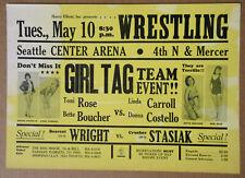 GIRL TAG TEAM WRESTLING Seattle Center Arena 1966 Cardboard POSTER Vintage VG+