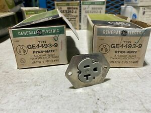 Box of 10 GE 4493-9 Dyna-Mate Straight Blade Flanged Receptacles 20A 125V NOS