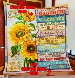 Personalized To Daughter. Granddaughter Sunflower Quilt, Fleece Blanket