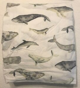 Pottery Barn Sea Pod Organic Extra Long Twin Fitted Sheet Whales Ocean Beach