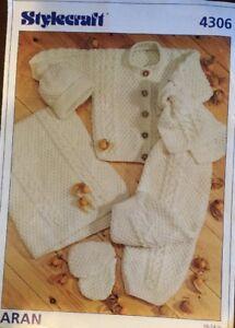 "Patons  Aran Knitting Pattern Babies Blanket Hat Cardigan Size  16/24"" Chest"