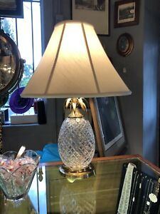 Waterford Clear Crystal Glass Pineapple Lamp w/ Brass Detail and Matching Shade