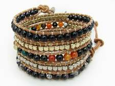 6 Wrap Bracelet  6mm glass, agate , 4mm silver, gold beads leather bracelet