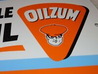 "VINTAGE OILZUM MOTORCYCLE OIL 11 3/4"" PORCELAIN METAL GASOLINE SIGN! PUMP PLATE!"