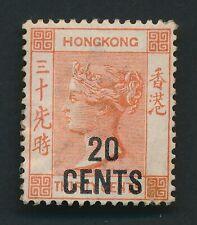HONG KONG STAMP 1885 QV SG #40 20c/30c ORANGE-RED MINT OG £190
