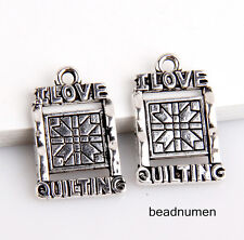 """20pcs zinc alloy """"I LOVE QUILTING""""pendants 21x14mm 1A1682"""