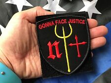 DEVGRU Poseidon NAVY SEAL TEAM ST6 Gonna Face Justice! BLACK EMBROIDERED PATCH