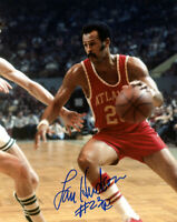 SWEET LOU HUDSON SIGNED AUTOGRAPHED 8x10 PHOTO ATLANTA HAWKS LEGEND BECKETT BAS