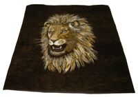 Biederlack Lion Head Fleece Throw Blanket Reversible 55 x 54 USA