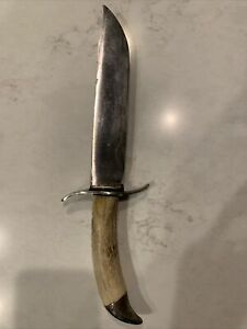 """Vintage Bowie Knife with Stag Handle Stainless Steel 13.5""""  8"""" Blade No Mark"""