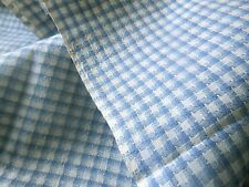 Antique 19thc 1800's Blue Homespun Plaid Cotton Fabric ~ dolls quilts projects