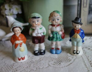 2 Pairs of Figurines Made in Occupied Japan Boy & Girl AND Colonial Couple S&P