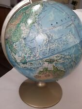 Vintage McNally world portrait globe with raised topography and metal base