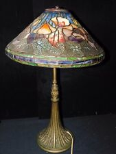 Magnificent Estate Antique Stained Glass & Bronze Table Lamp
