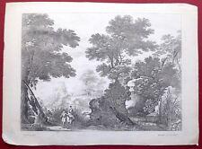 Eau forte, Paysage avec rivière et tour, Perelle, édition Drevet,XVIIe.
