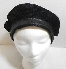 Black Knit Beret Faux Leather Band  Winter Hat Cap Head Warmer Skate Ski Beanie