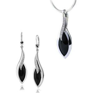 Onyx schwarz black Peacock Pfau Design Amulett Anhänger 925 Sterling Silber neu