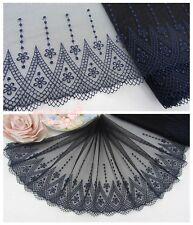 "8""*1Y Embroidered Floral Tulle Lace Trim~Black+Deep Blue~Mystic Journey~Elegant~"
