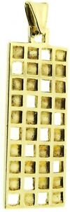 9ct yellow gold rectangle pendant divided square sections solid 3D vintage