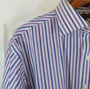 NWT! Tommy Hilfiger Purple Stripe Regular Fit Dress Shirt 17.5  34/35 MSRP $70