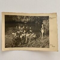 Antique Vintage RPPC Real Photograph Postcard Little Girl Ducks Pond Germany