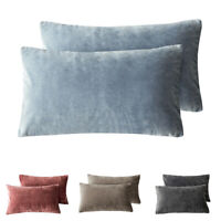 "PHF Velvet Throw Pillow Covers Rectangle Lumbar Decor 2-Pack 12"" x 20"" 4 Colors"