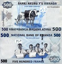 RWANDA 500 Francs Banknote World Paper Money UNC Currency Pick p-38 Cows Bill