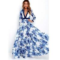 Womens Long Maxi Party Dress Ladies Boho Summer Print Deep V-Neck Beach Dress
