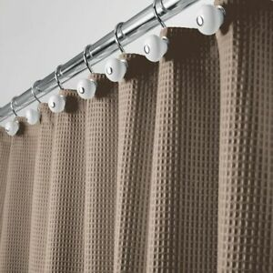"""mDesign Waffle Weave Fabric Shower Curtain - 72"""" Long - Brown"""