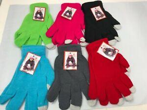 Lot of 6 men's women's winter knit warm touch screen gloves bulk wholesale