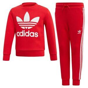adidas Originals infant/junior red Trefoil crew neck suit. Ages 4-5, 5-6, 6-7Y