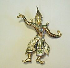 """Gold Plate Sterling Silver and Enamel 2"""" Vintage Thai Siam Dancer Figure Pin"""
