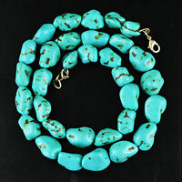 EXCLUSIVE 376.50 CTS NATURAL AAA UNTREATED GENUINE TURQUOISE BEADS NECKLACE