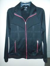 ADIDAS BLACK & PINK FULL ZIP ATHLETIC WOMENS TRACK JACKET SIZE S FREE SHIP!