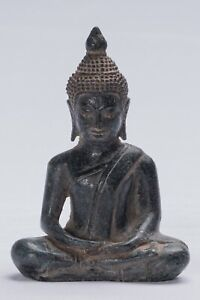 Antico Khmer Stile Seduta Bronzo Meditazione Statua di Buddha -