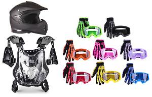 Youth Kids Chest Protector Matte Black Helmet ATV Gloves Goggles Combo DOT