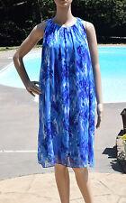 Isaac Mizrahi Size M Multi Color Blue Chiffon Lined Tent Dress Sleeveless