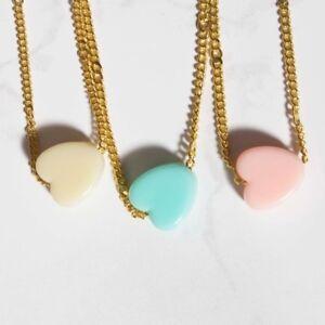 Gold chain pastel heart pendant fashion necklace choker. Boho costume jewellery