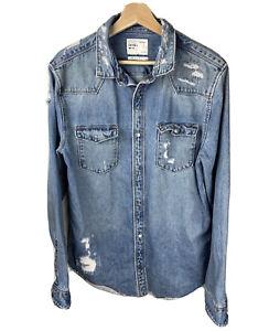 Zara Man sz L unisex men blue denim ripped distressed frayed jacket top