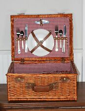 Wicker Picnic Basket Wine and Cheese For Two Pier One Red Gingham Vtg ��