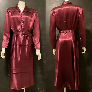 S 1940s Long Sleeve MIDI Dress Solid Purple Rayon Day Wear 40s VTG Tiered Skirt
